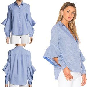 BCBGMaxAzria Thelma Striped Ruffled-Sleeve Shirt